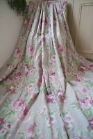 NEXT TAUPE GREY PINK COUNTRY FLORAL COTTON EYELET CURTAINS,53WX54D,LINED,HEAVY