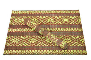 4 Handmade Bamboo Wood Placemats Tablemats, Brocade Design, Black-Green BP005B