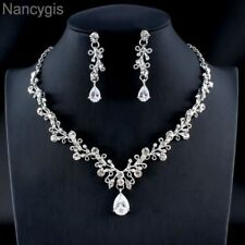 Luxury Crystal Cubic Zirconia Leaf Drop Necklace Earrings Wedding Jewellery Set