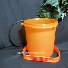 TUPPERWARE NEW Giant Canister - Halloween Orange and Black Bucket w/ Handle