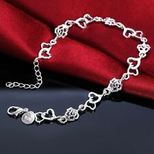 "Unique & Elegant 925 Sterling Silver Heart & Rose Flower Style 9"" Bracelet #012"