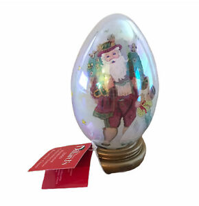 Bavarian Santa Hand Claus Painted Glass Egg W Stand Merry Christmas 2000