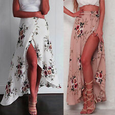 Summer Womens Floral Side Split Skirt Summer Beach Long Elastic High Waist Dress