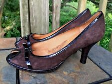 SALE @ SOFFT S?fft Black & Brown Pumps High Heels Peep Shoes Womens Sz 7.5 ??b1