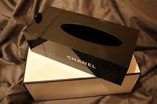 CHANEL VIP Gift Black Tissue Holder Signature Makeup Organizer Acrylic Box NEW