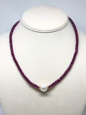 14K Natural Ruby Rondelle Pearl Yellow Gold Bead Necklace 17in