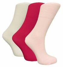 3 Pairs Ladies Pink Mix STAY-UP Diabetic Non Elastic 99% Cotton Socks, Size 4-8
