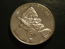 CHRISTMAS 1996 SANTA CLAUS LIST PEACE ON EARTH .999 SILVER 1 OZ COIN FREE SHIP!