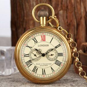 Vintage Open Face Men Automatic Mechanical Skeleton Pocket Watch Pendant Chain