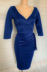 BEAUTIFUL BLUE PLUNGE NECK BODYCON WIGGLE PENCIL DRESS SIZE 8-18