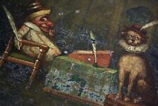 19th Folk Art Punch & Pooch Tin Box Antique Oil Painting Curio Decorative