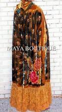 Opera Cape Cloak Beaded Velvet Lace Peacock Victorian Antique Gold Maya Matazaro