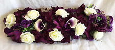 "PURPLE SWAG 30"" Centerpieces Silk Wedding Flowers Arch Gazebo Decor Callas Roses"