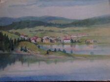 Aquarelle couleurs fine '800 primi '900 paysage sul lac case COLLINE sapins