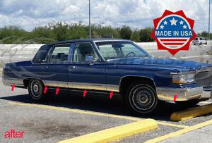 "1987-1992 Cadillac Fleetwood Brougham Chrome Rocker Panel Trim FL 6 1/4"" 12Pc"