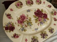 Vintage Artone Pottery Stunning Floral Stoneware Meat Poultry Platter Charger