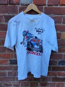 Vintage Retro Honda Motorcycle Racing Superbike White Men Tee T-Shirt Size L