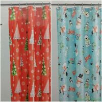Holiday Time Fabric Shower Curtain Blue Snowman Penguin Bear / Red Vintage Trees