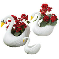 Swan Garden Planters Set of 3 Plastic Garden Yard Art Indoor Outdoor Lawn Decor
