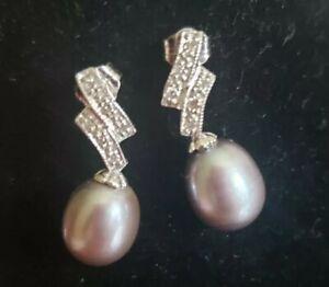 14k Classic White Gold Black Pearl and Diamond Drop Earrings