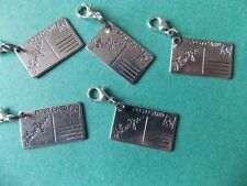 I LOVE YOU POSTCARD silver tone charm clip on lobster clasp for charm bracelets