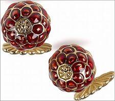 "Art Nouveau Raspberry Enamel Cufflinks 0.6"" Diameter Men's Cufflinks Gold Plate"