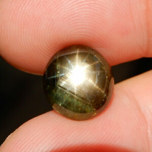 3.60CT Unheated Black Star Sapphire Natural Real Gemstone Oval Cabochon 6 Rays