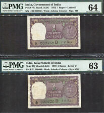 TT PK 77j 1972 INDIA 1 RUPEE SET OF 2 NOTES SERIAL # 550 & 600 PMG 64 CHOICE UNC