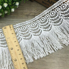 1 Yard White Embroidered Lace Trim Tassels Bridal Applique Sewing Craft 95mm
