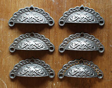 6 x ANTIQUE CAST IRON DRAWER CUP PULL HANDLE DOOR CUPBOARD VICTORIAN ~ DP09(x6)