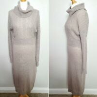 TAHARI (UK Size 10-12) Chucky Cable Knitted Roll Neck Jumper Dress - Sweater
