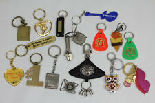 VINTAGE KEY CHAIN RING TAG 16 PIECE RETRO LOT COOL DESIGNS ALL USEABLE TOOL MORE