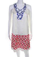 Cynthia Cynthia Steffe Womens Silk Sleeveless Shift Dress White Red Blue Size XS