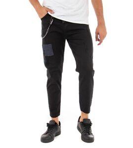 Pantalone Uomo Lungo Tinta Unita Toppe Nero Slim Catenina Casual GIOSAL
