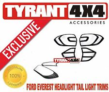 [TYRANT 4X4] Ford Everest 2016+ Black Headlight Tail Lights Trims Covers TREND