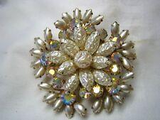 Vintage Juliana Rhinestone & Pearl Snowflake Brooch