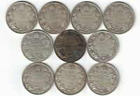 10 X CANADA TWENTY FIVE CENTS QUARTERS KING GEORGE V 800 SILVER COINS 1921-1936