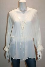 H&M Brand White Tie Front Long Sleeve Blouse Top Size 12 BNWT #TR02