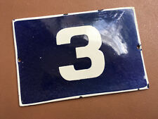 ANTIQUE VINTAGE EUROPEAN ENAMEL SIGN HOUSE NUMBER 3 DOOR GATE SIGN 1960's