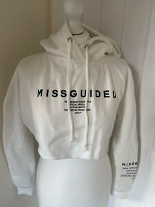 Missguided Petite Size 8 Cream Cropped Hoodie