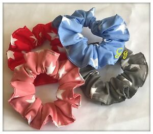 PACK 4 Hair Scrunchies Ponytail Headband Elastic Band Bow Hair Tie Stars Fabric