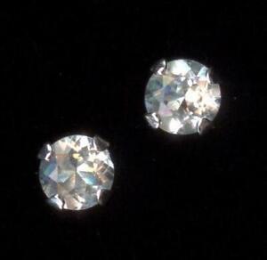 New 14K Solid White Gold 3mm Round White Topaz Gemstone Solitaire Earrings Gi