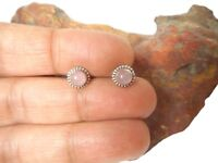 Round ROSE  QUARTZ   Sterling  Silver  925  Gemstone  STUD  Earrings  -  5 mm