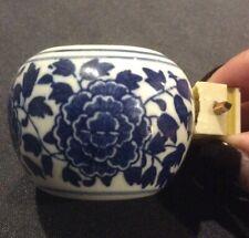 Antique Chinese Porcelain Floral Bird Feeder Water Bowl Blue White Bar Lock Rare