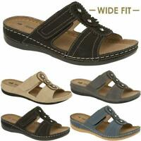 Ladies Womens Wide Fit Low Wedge Comfort Summer Holiday Cushion Sandals Shoes