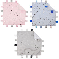 Baby Taggie Blanket Comforter with Stars, Moons or Hearts in Pink, Blue or Grey