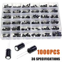 1000x Electrolytic Capacitor Assortment Kit 0.1UF-1000UF 10V-50V 36 Value Box BE