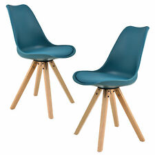 B-WARE 2x Design Stühle Esszimmer Türkis Stuhl Holz Plastik Kunst-Leder