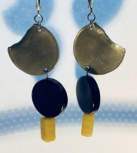 anne marie chagnon pewter and glass bead earrings