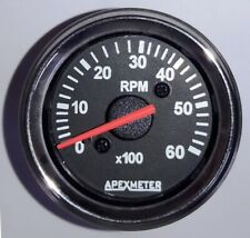 "Electronic  6000 RPM 2 1/16"" (52mm) Tachometer,24V Chrome"